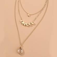 Mehrschichtige Halskette mit Buchstaben Dekor
