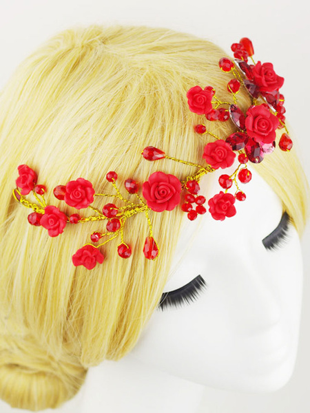 Milanoo Red Wedding Headpieces Flower Beading Bridal Hair Accessories