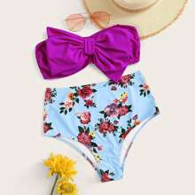 Neon Purple Random Floral Bow Decor Bandeau Bikini