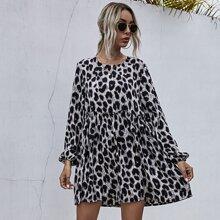 Leopard Print Frill Trim Smock Dress