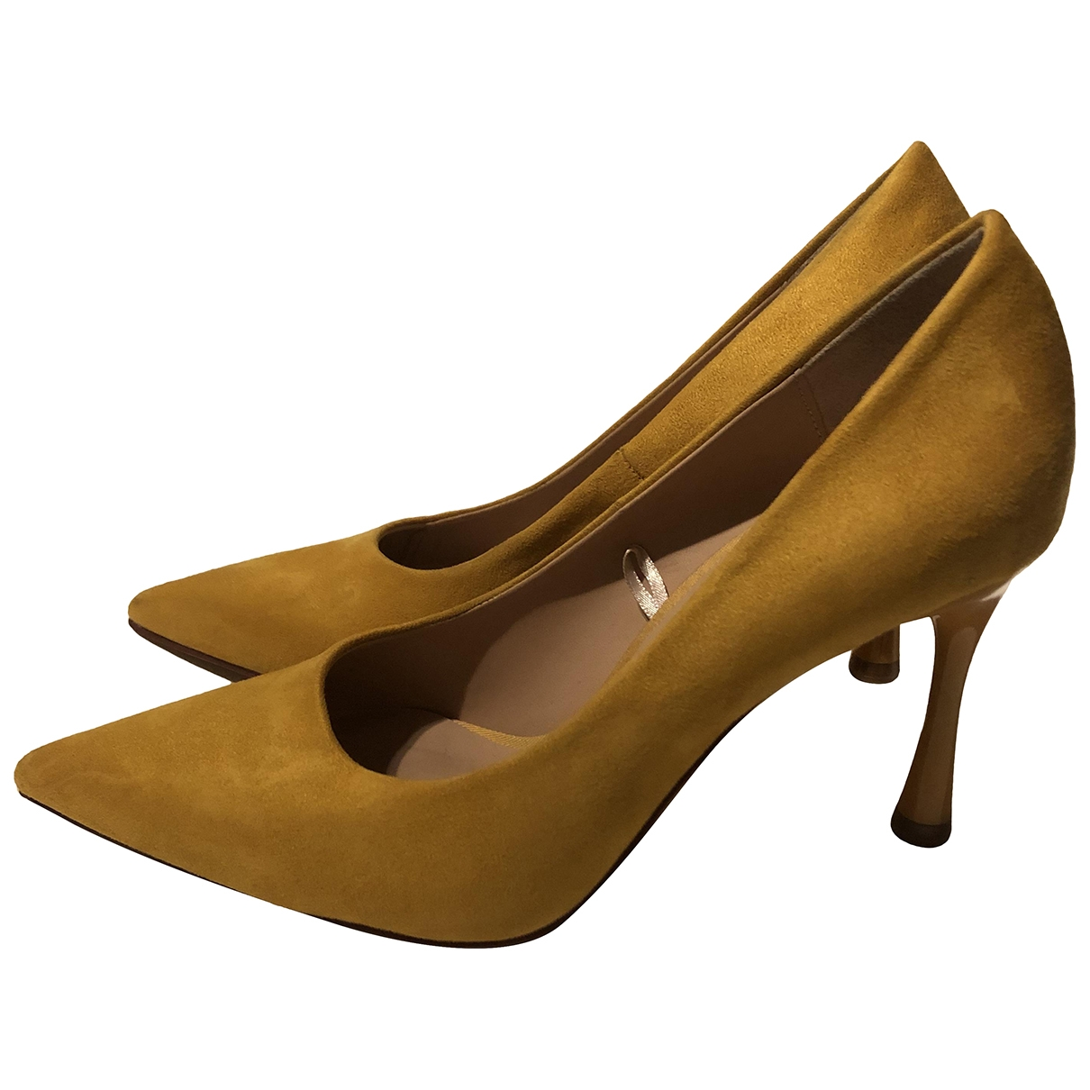 Zara - Escarpins   pour femme en suede - jaune