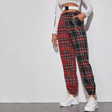 Chain Detail Tartan Tapered Pants