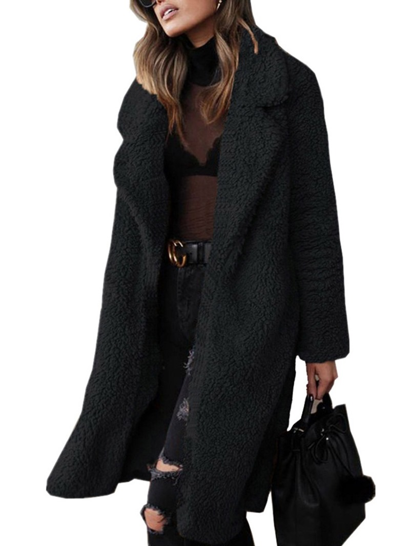 Ericdress Plain Lapel Long Winter Straight Faux Fur Overcoat