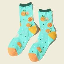 Socke mit Obst Muster