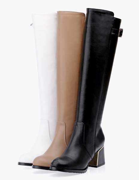 Milanoo Knee High Boots Womens PU Leather Buckled Round Toe Block Heel Winter Boots