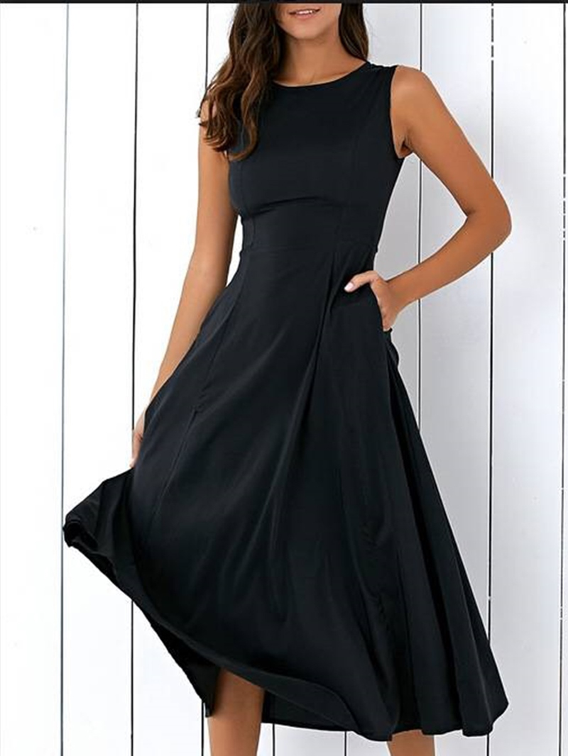 Ericdress Black Sleeveless Plain Women's Maxi Dress