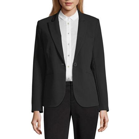 Liz Claiborne Long Sleeve One Button Jacket - Tall, 6 Tall , Black