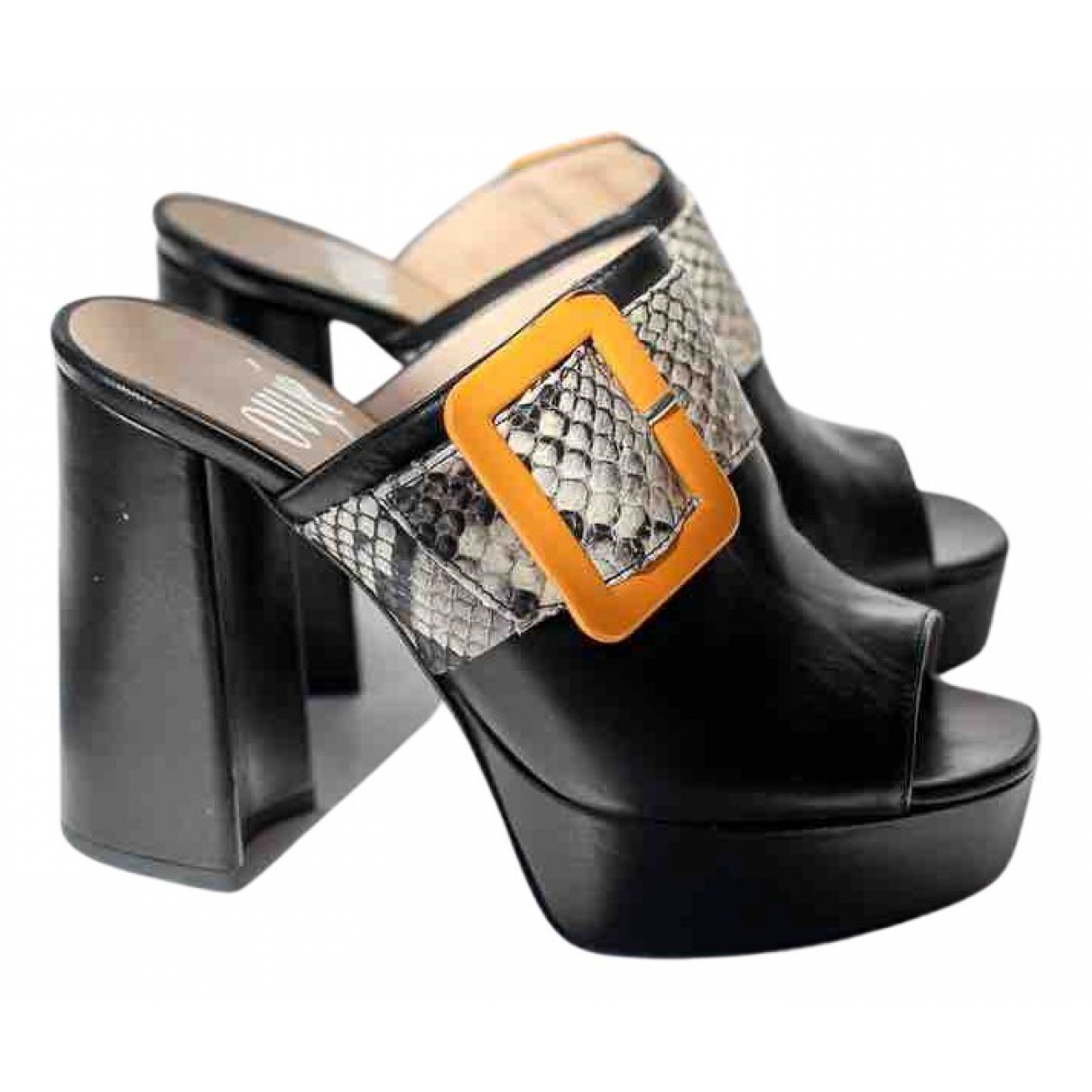 Ovye N Black Leather Mules & Clogs for Women 36 EU