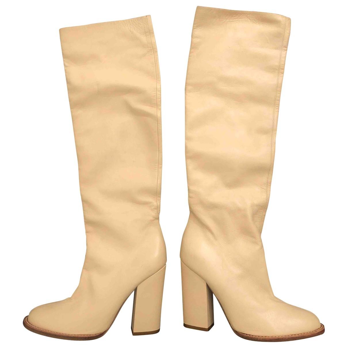 Givenchy - Bottes   pour femme en cuir - beige