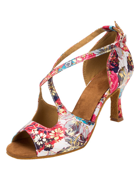 Milanoo Vintage Ballroom Shoes Floral Printed Flared Heel Cross Front Strap Dance Shoes For Women