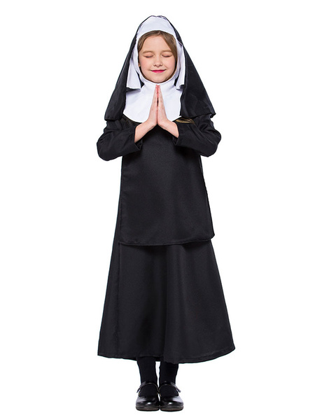 Milanoo Kids Nun Costume Halloween Black Dresses Set