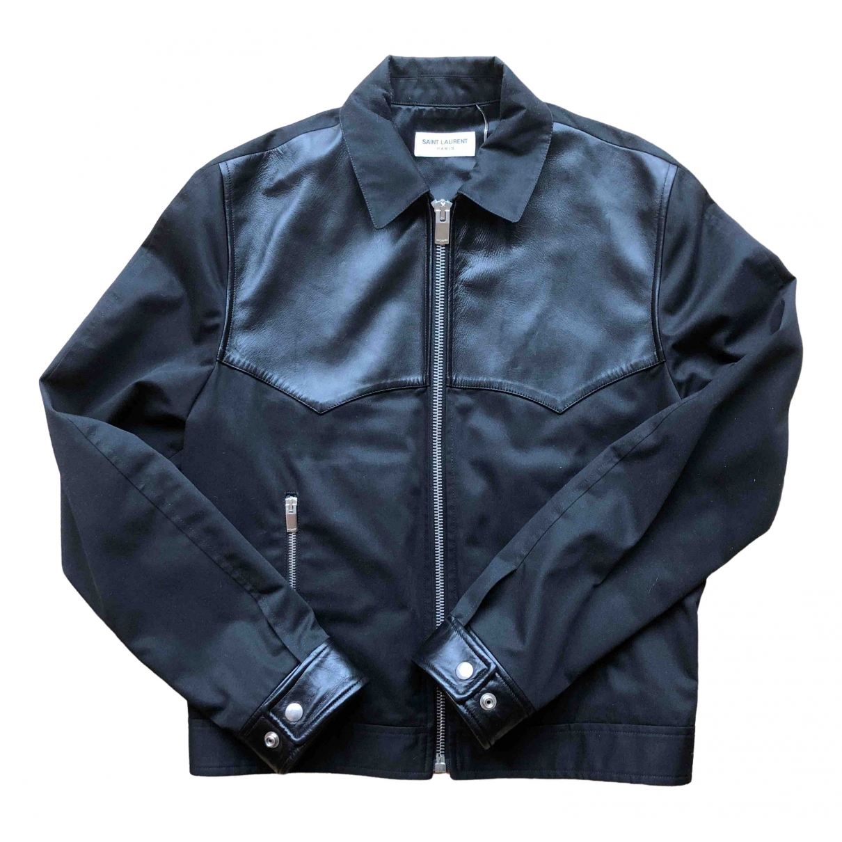Saint Laurent \N Black Leather jacket  for Men 48 FR