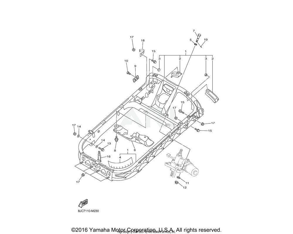 Yamaha OEM 8HG-23870-02-00 STEERING GATE COMP.