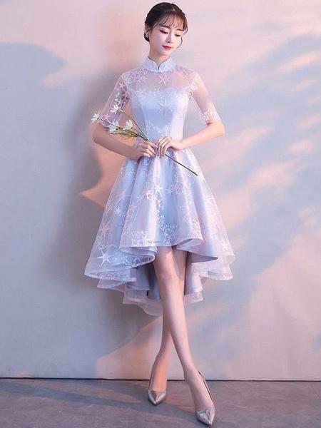 Milanoo Light Grey Cocktail Dresses Stand Collar Half Sleeve Short Prom Dress Asymmetrical Graduation Dress