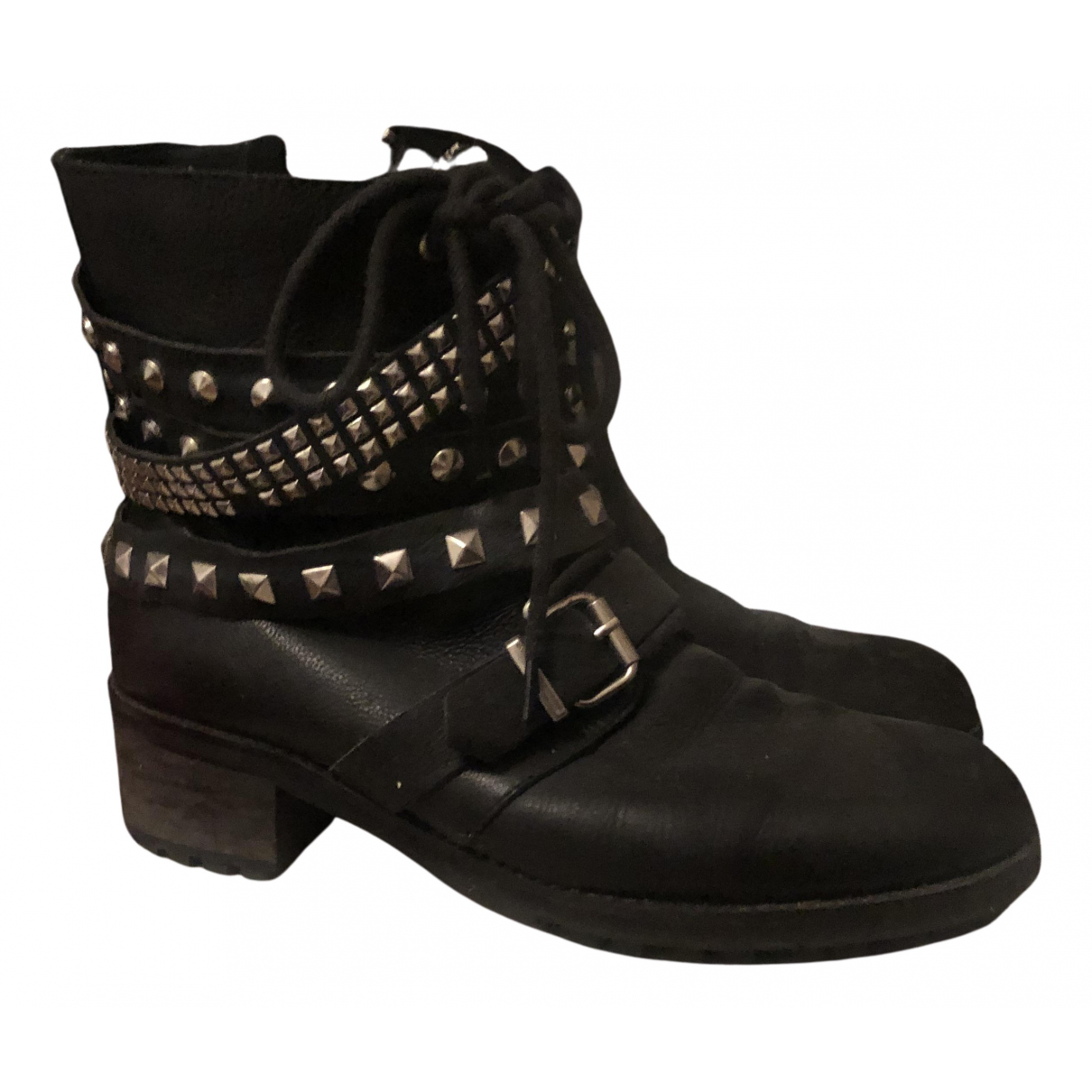 Zara N Black Leather Boots for Women 39 EU