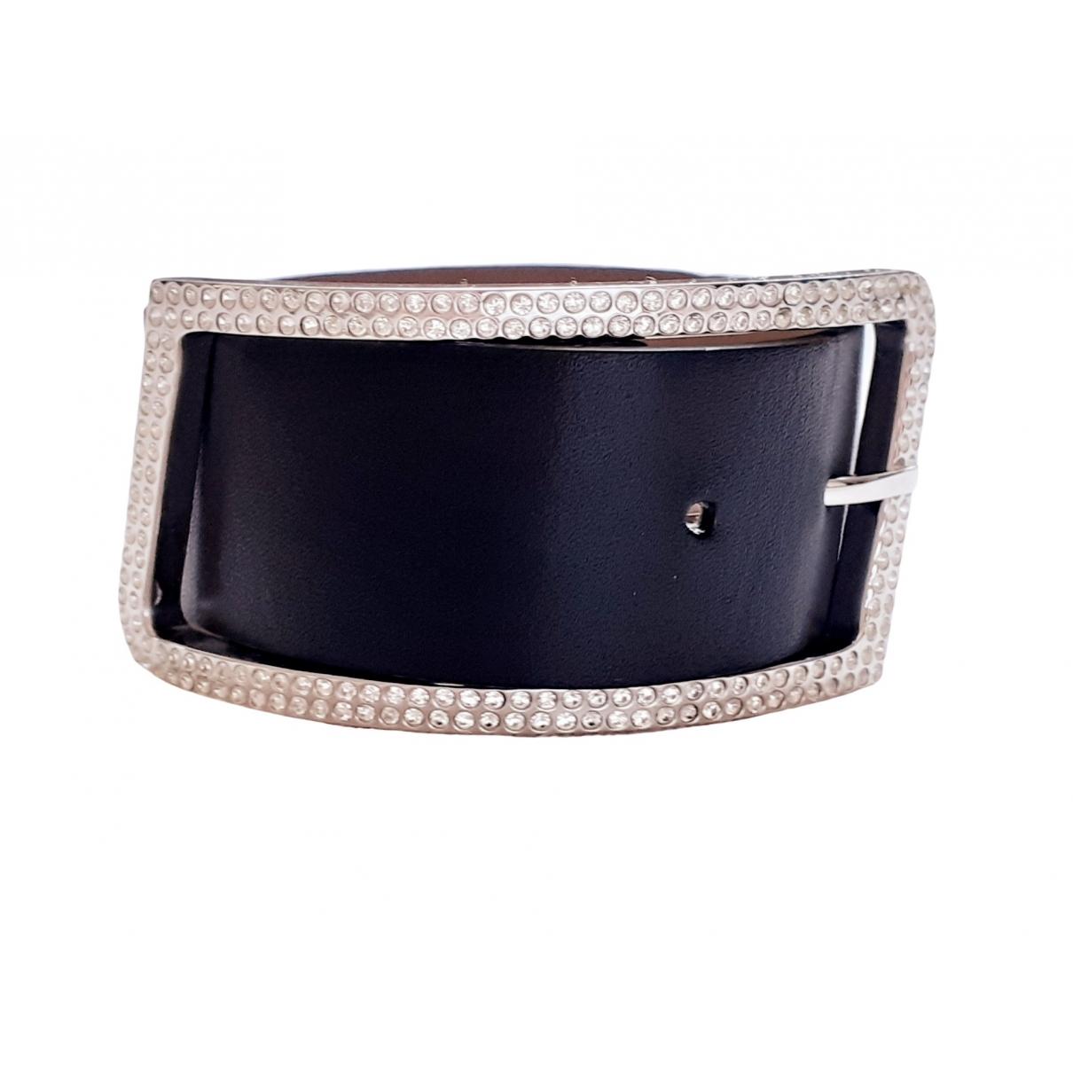 Swarovski \N Armband in  Schwarz Leder
