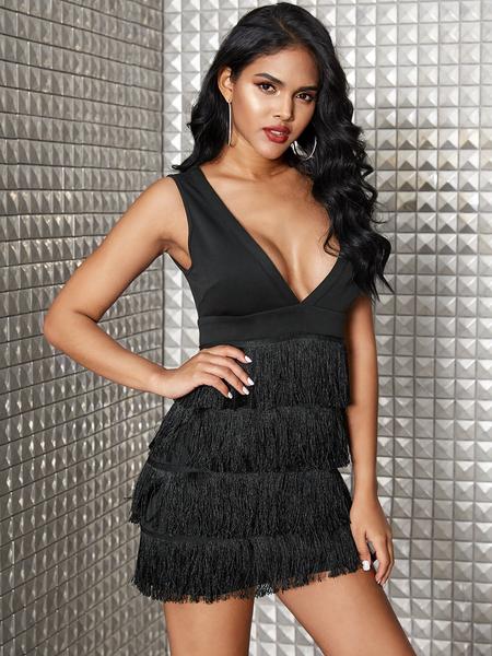 YOINS Black Tiered Tassel Design With Zip Back Fastening Sleeveless Dress