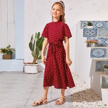 Girls Mock-Neck Flutter Sleeve Self Belted Heart Print Dress