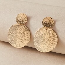 1pair Textured Round Charm Drop Earrings
