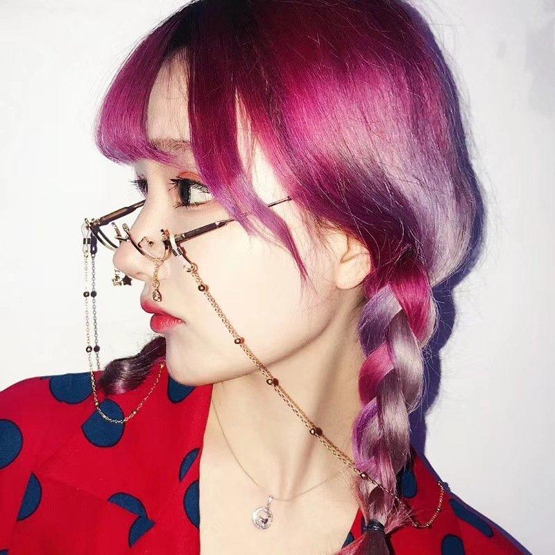 Women Vogue Lens-free Metal Glasses Lower Half Frame Clear Lens Water Drop Decorative Glasses