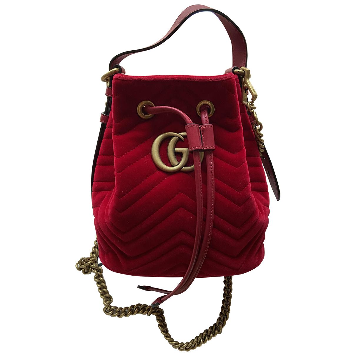 Gucci - Sac a dos Marmont pour femme en velours - rouge