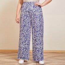 Hose mit Blumen Muster und breitem Beinschnitt