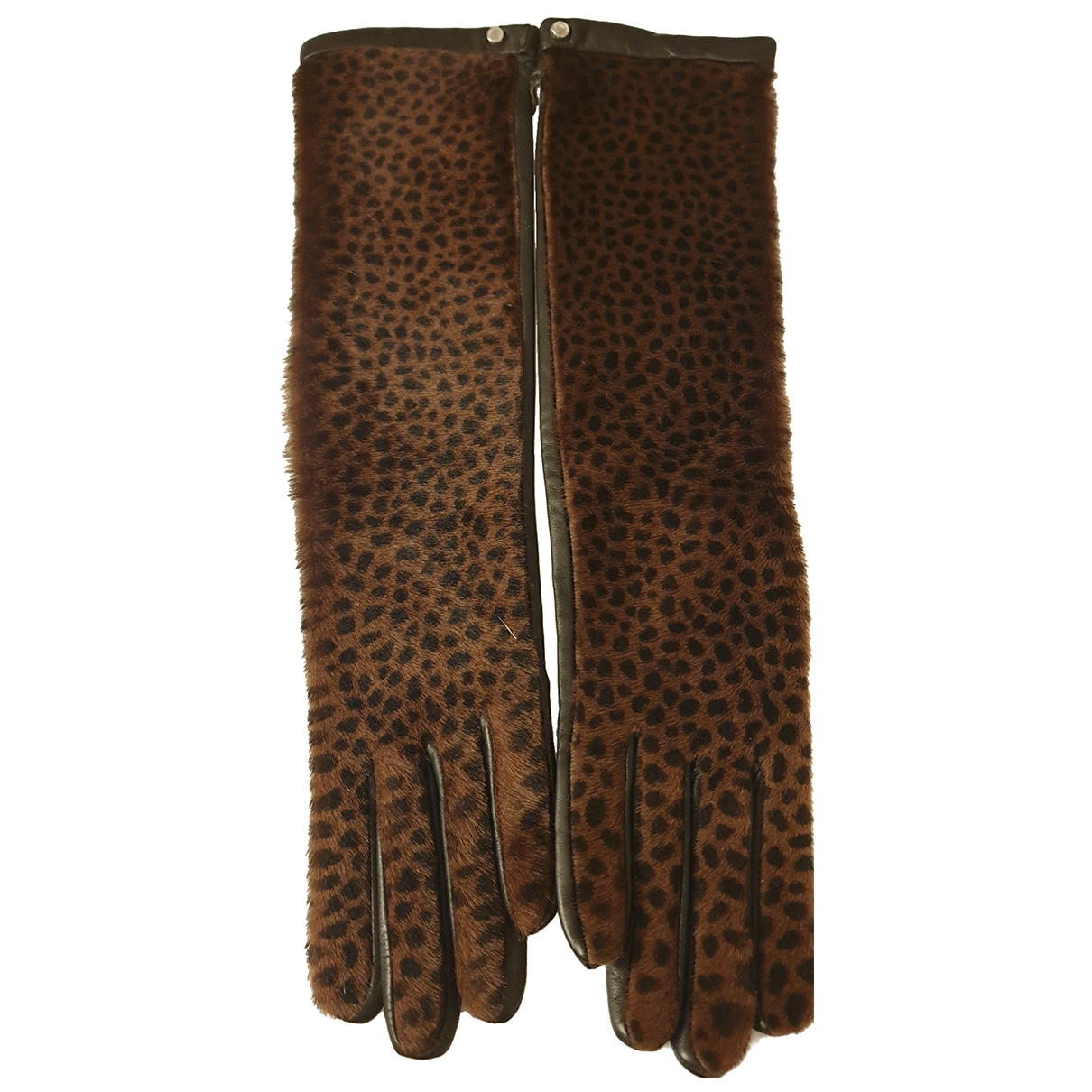 Longchamp \N Black Leather Gloves for Women 7.5 Inches
