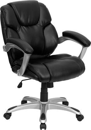GO-931H-MID-BK-GG Mid-Back Black Leather Office Task