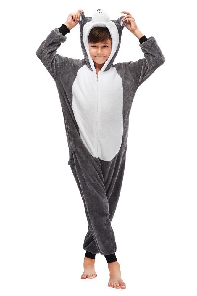 Invierno Kigurumi niños gris Huskie pijamas Stitch Onesie pijamas para niños niñas ropa de dormir de animales pijamas de franela niños Pijama