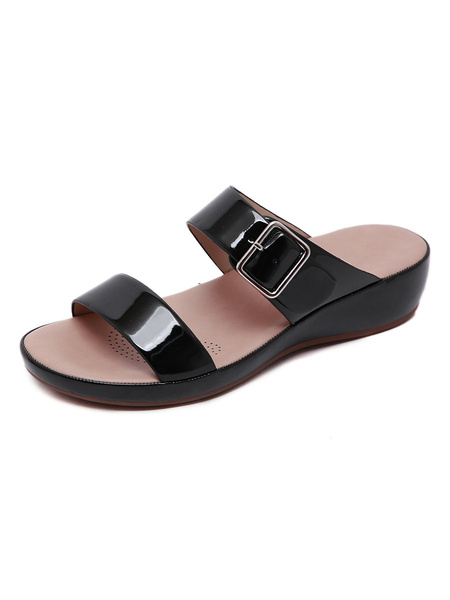 Milanoo Woman Flat Sandals Flat PU Leather Casual