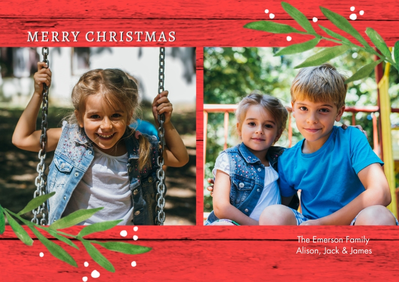 Christmas Photo Cards 5x7 Cards, Premium Cardstock 120lb with Scalloped Corners, Card & Stationery -Christmas Simple Leaves