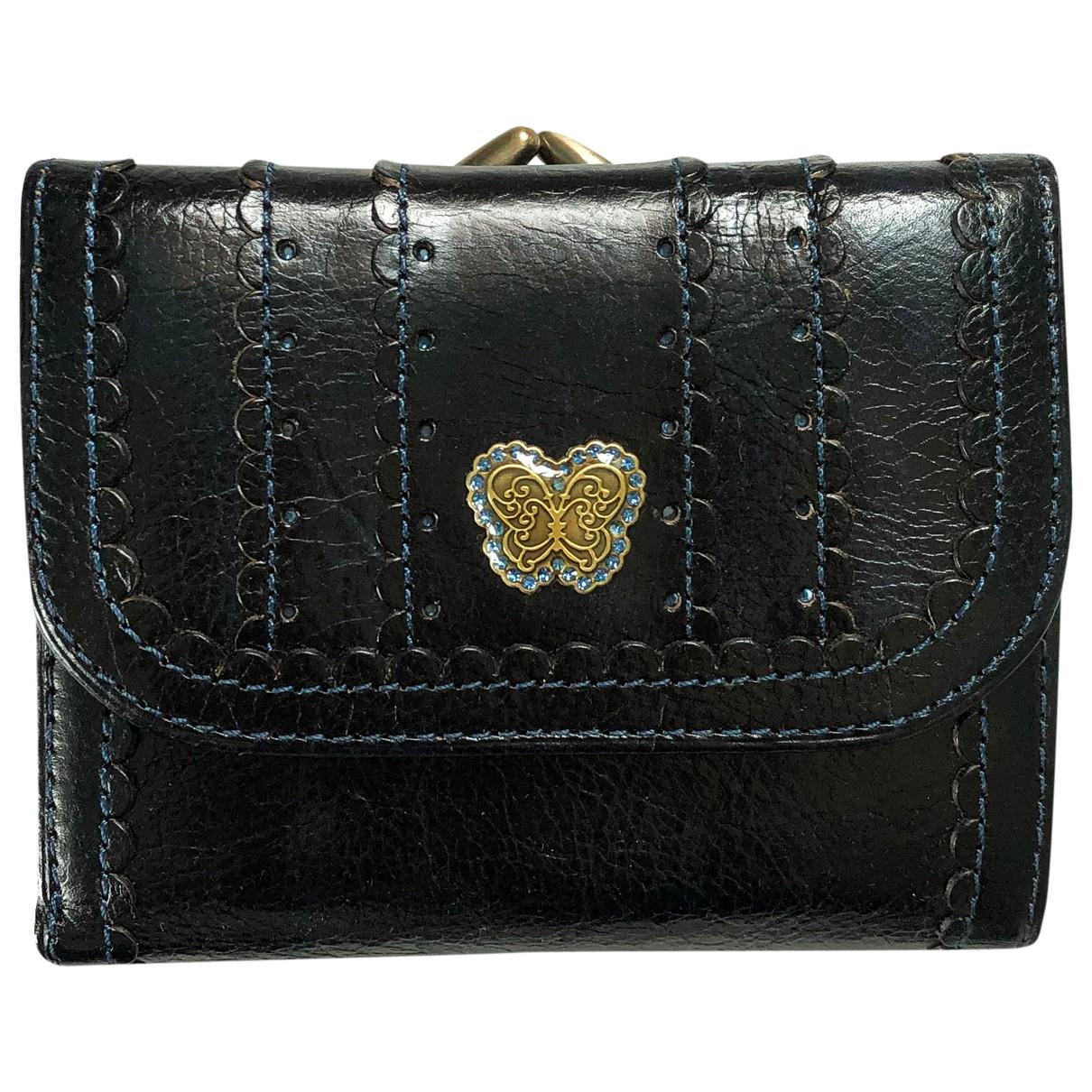 Anna Sui - Portefeuille   pour femme en cuir - noir