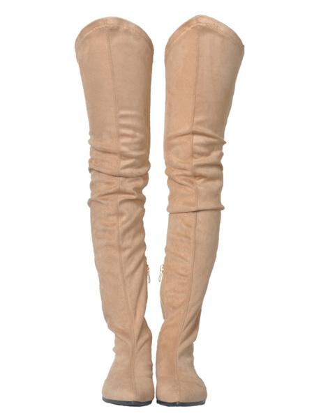 Milanoo Botas altas mujer color albaricoque  Cuero con apariencia suave de tacon gordo de puntera puntiaguada Bajo(2.54-5.08cm) Color liso