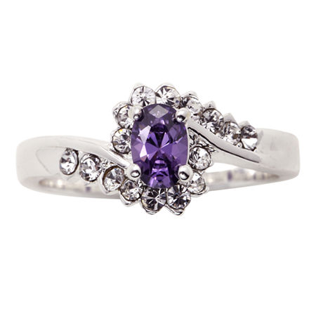 city x city Pure Silver-Plated Purple & Clear Crystal Ring, 8 , No Color Family
