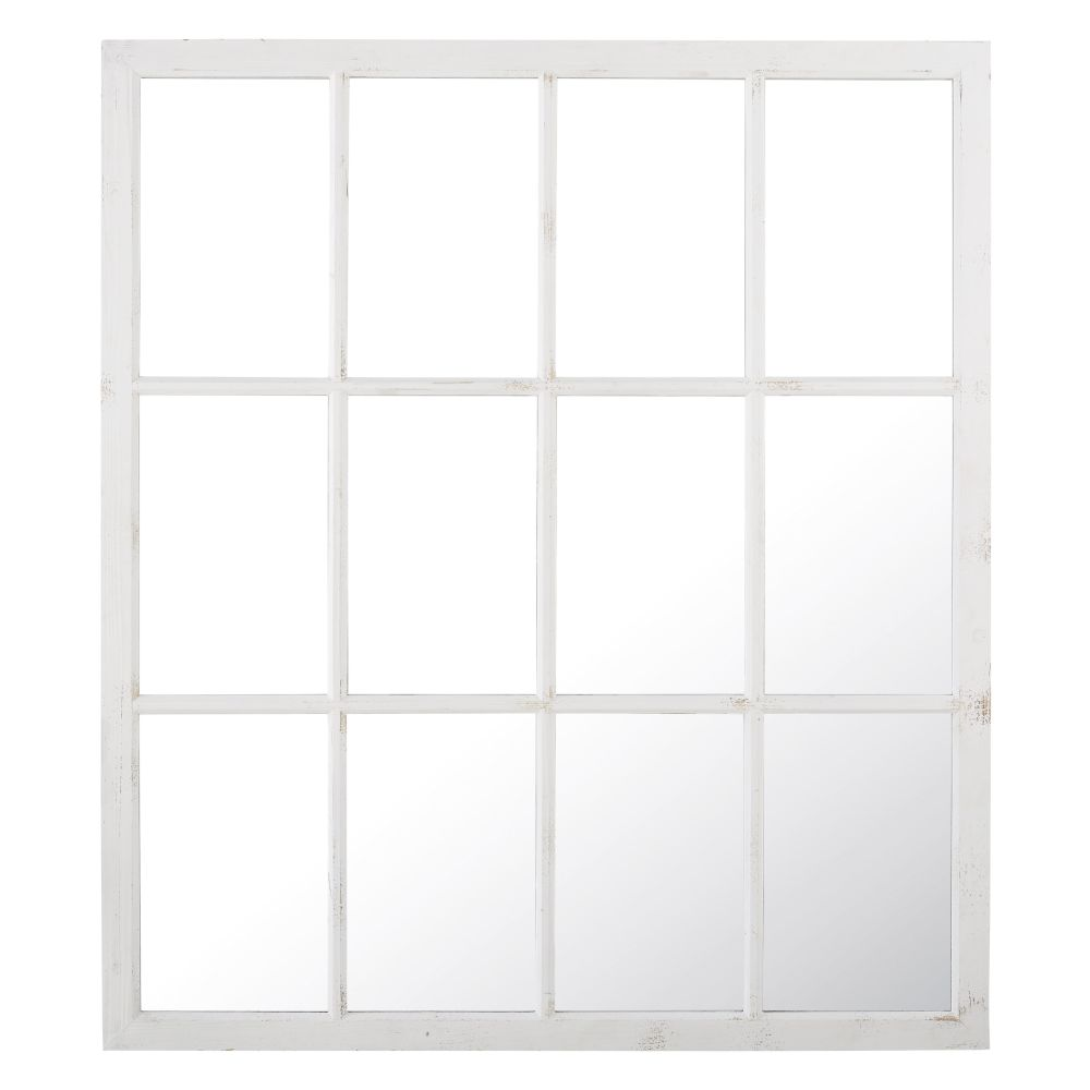 Spiegel in Fensteroptik aus Tannenholz, weiss 140x160