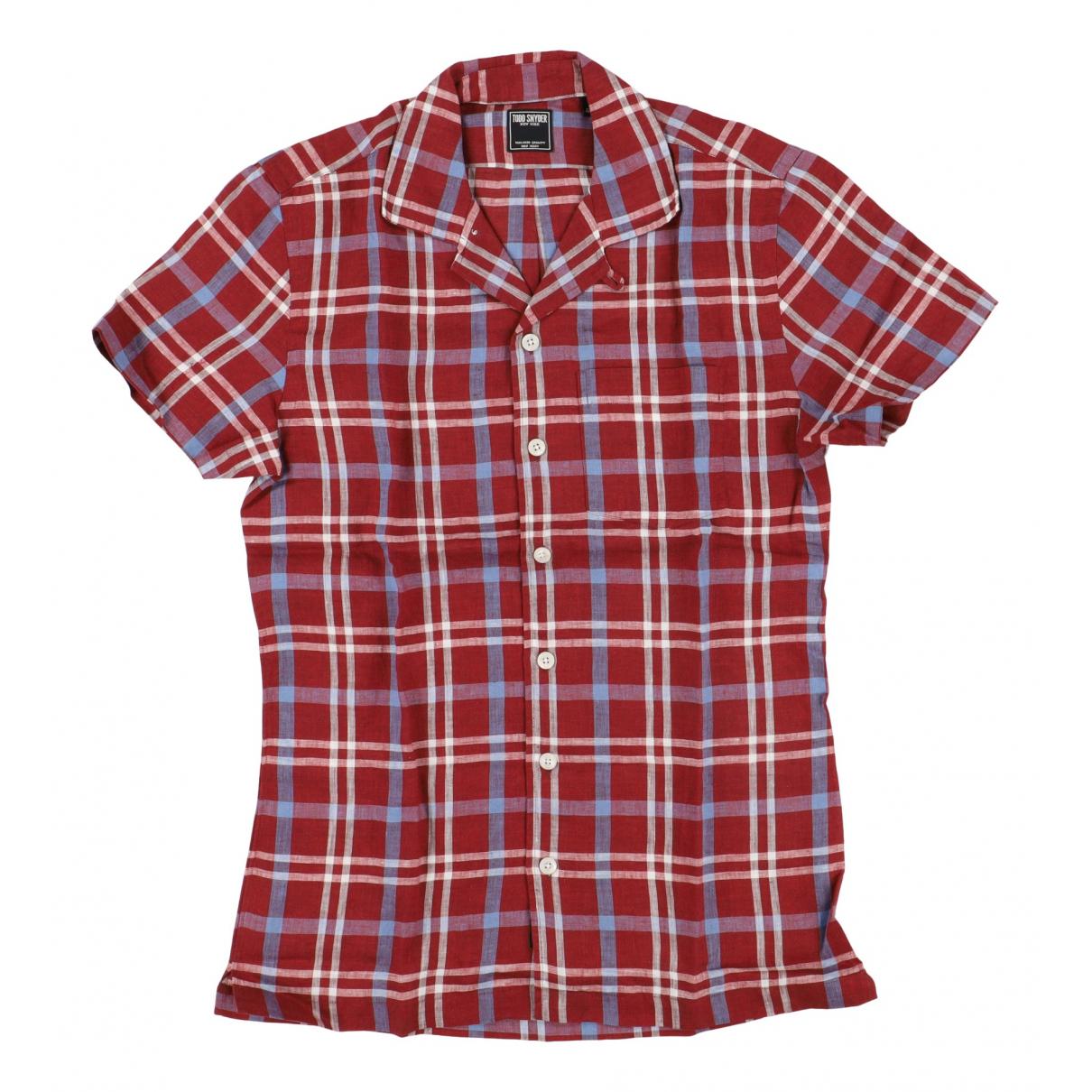 - Chemises   pour homme en lin - rouge