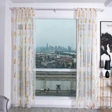 1pc Leaf Print Sheer Curtain