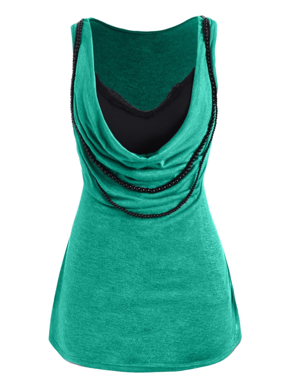 Plus Size Cowl Front Beaded Tank Top