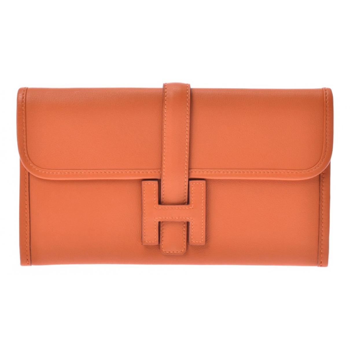 Hermes - Pochette Jige pour femme en cuir - orange