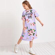 Girls Drop Shoulder Floral & Letter Graphic Tee Dress