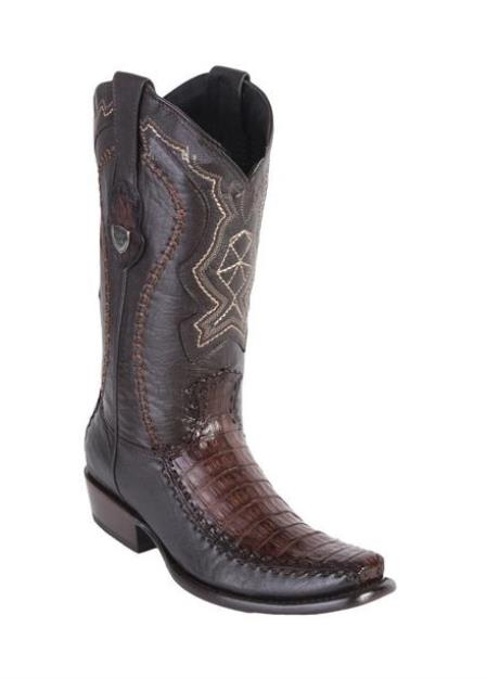 Men's Toe Style Wild West Faded Brown Caiman Belly Handcrafted Boots
