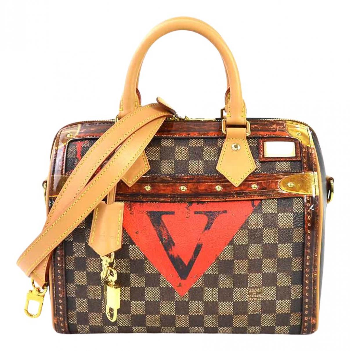 Louis Vuitton - Sac a main Speedy Bandouliere pour femme en toile - marron