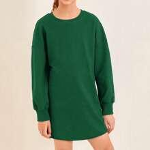 Girls Drop Shoulder Solid Sweatshirt Dress