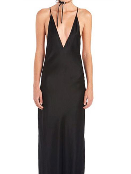 Milanoo Apricot Club Dress Plunging Neckline Sleeveless High Slit Backless Sexy Club Wear