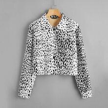 PU Leder Jacke mit Taschen vorn und Dalmatiner Muster