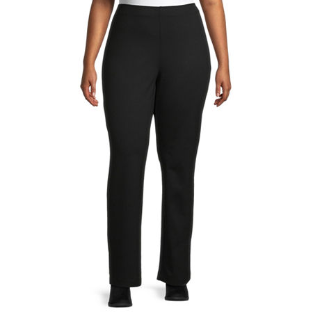Liz Claiborne Ponte Pull On Pant - Plus, 5x , Black