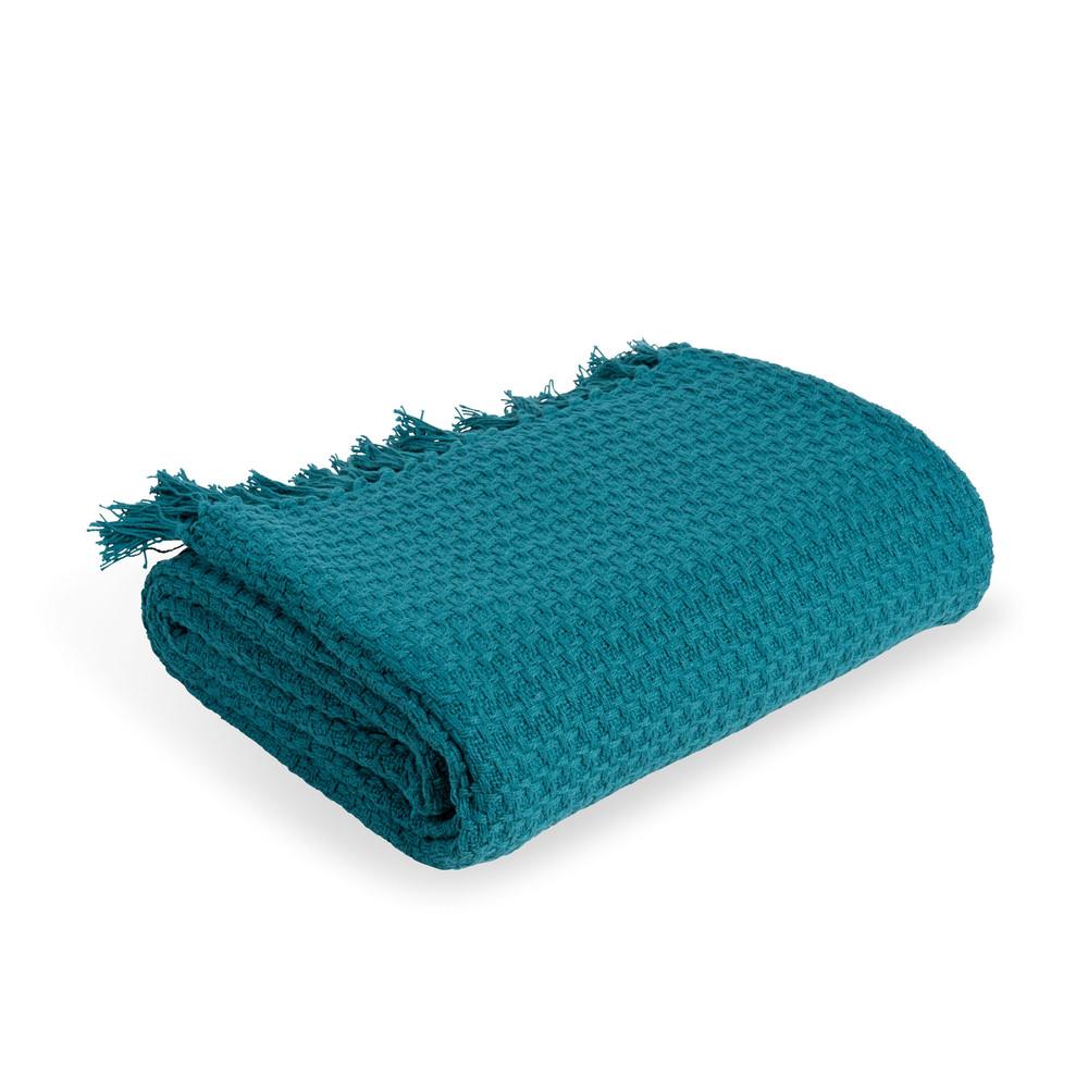 Uberwurf aus blauer Baumwolle 160x210