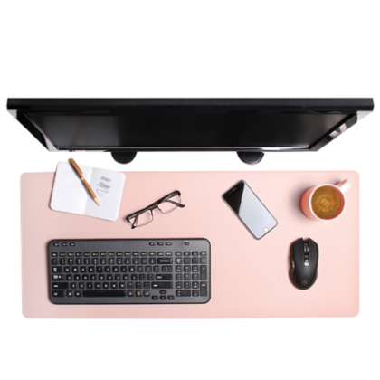ENHANCE XXL Tablette de bureau d'ordinateur en cuir PU étendu, Rose