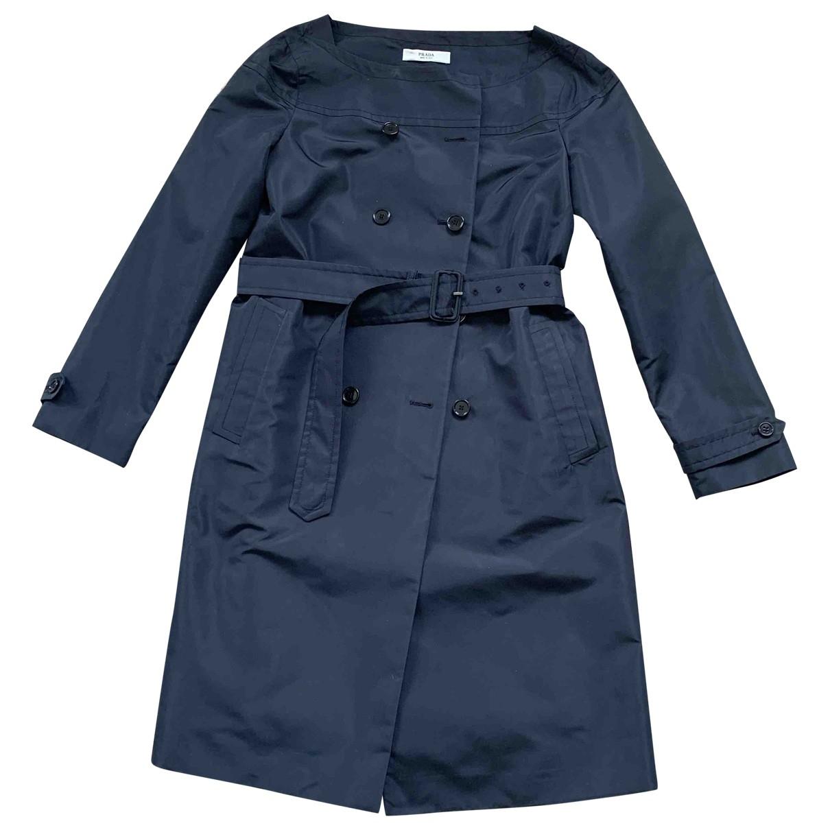 Prada \N Navy Silk Trench coat for Women 42 IT