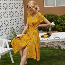 Batwing Sleeve Wrap Knotted Floral Dress